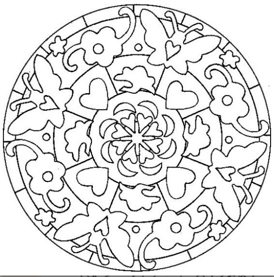 Coloriage et dessins gratuits Mandalas Fleurs et Papillon simple à imprimer