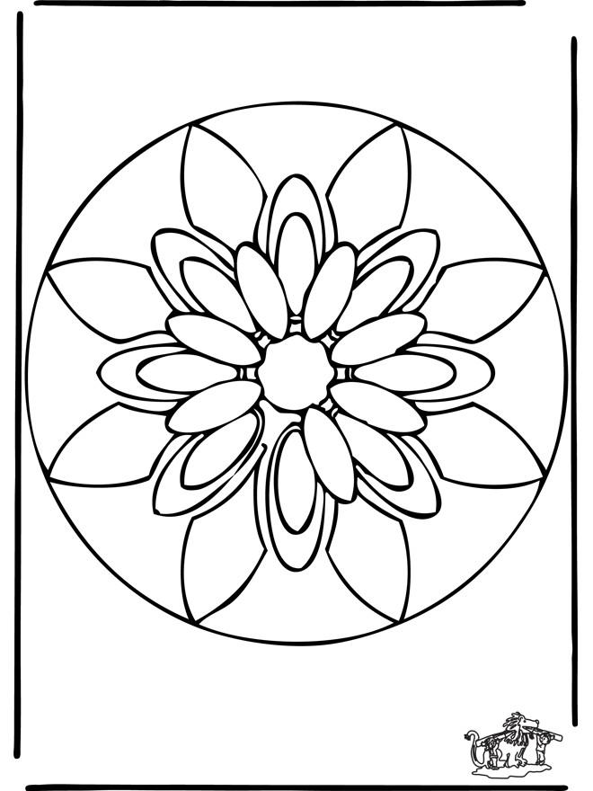 Coloriage et dessins gratuits Mandalas Fleurs simple à décorer à imprimer