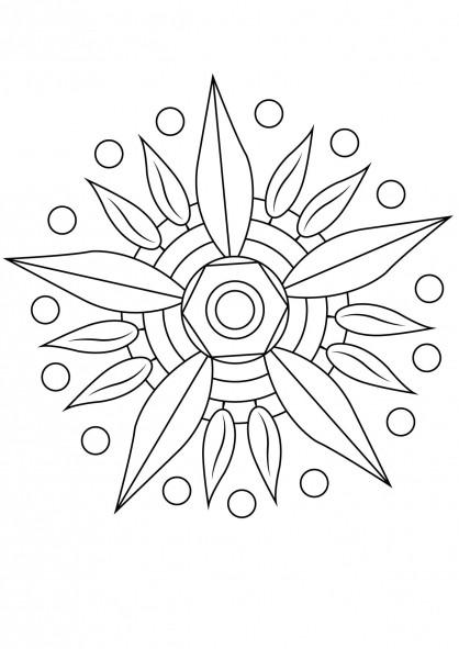 Coloriage et dessins gratuits Mandalas Fleurs simplifié à imprimer