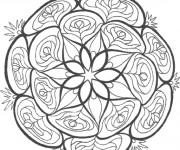Coloriage Mandalas Fleurs Vectoriel en noir
