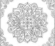 Coloriage Difficile mandala fleuri pour adulte