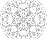 Coloriage et dessins gratuit Les Mandalas Coeurs à imprimer