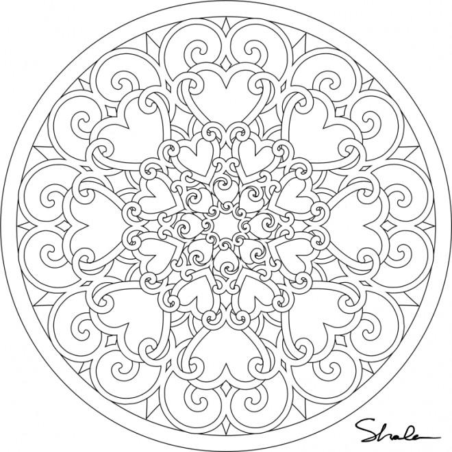 Coloriage et dessins gratuits Les Mandalas Coeurs à imprimer
