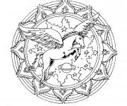 Coloriage et dessins gratuit Mandala Cheval volant à imprimer