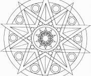 Coloriage Mandala étoile géométrique
