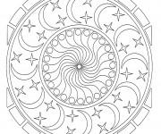 Coloriage Mandala Étoiles et Lune