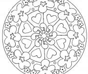 Coloriage et dessins gratuit Mandala Fleurs et Coeurs à imprimer