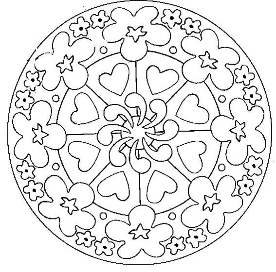Coloriage et dessins gratuits Mandala Fleurs et Coeurs à imprimer