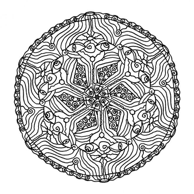 Coloriage et dessins gratuits Mandala Fleurs et Yeux à imprimer