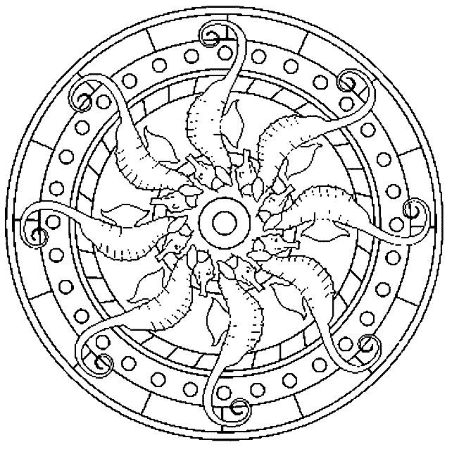 Coloriage et dessins gratuits Mandala Hippocampe à imprimer