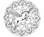 Coloriage et dessins gratuit Mandala licorne volante à imprimer