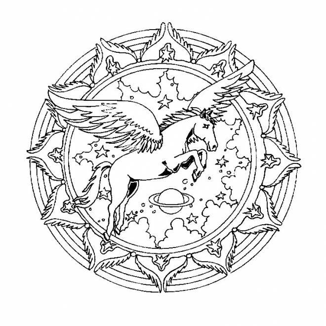 Coloriage et dessins gratuits Mandala licorne volante à imprimer
