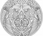 Coloriage et dessins gratuit Mandala Tigre à imprimer