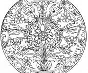 Coloriage Mandalas Fleurs facile