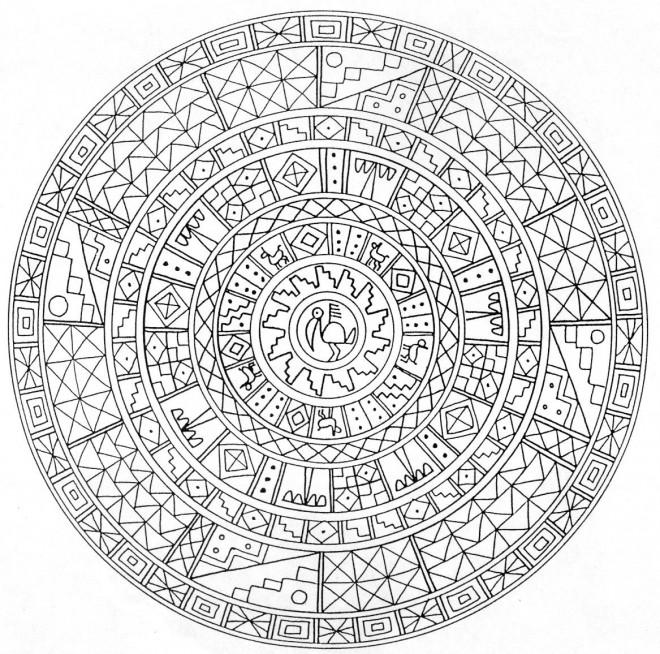 Coloriage et dessins gratuits Mandalas Mayas à imprimer