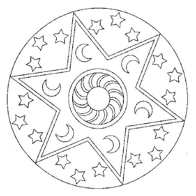 Coloriage et dessins gratuits Mandalas Nuit à imprimer