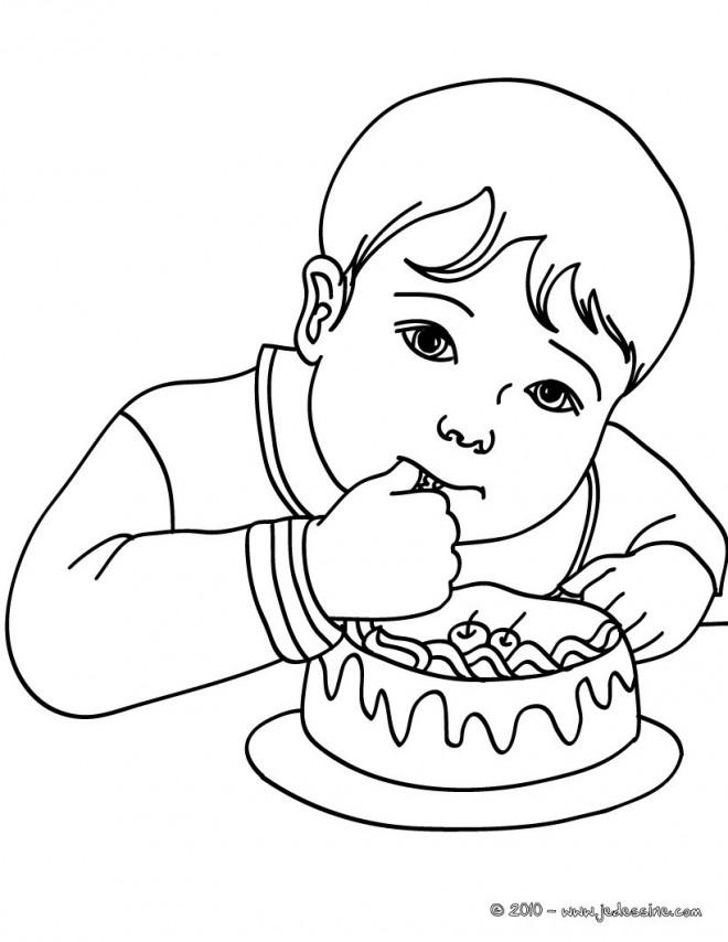 Coloriage enfant qui mange un g teau dessin gratuit imprimer - Dessin manger ...