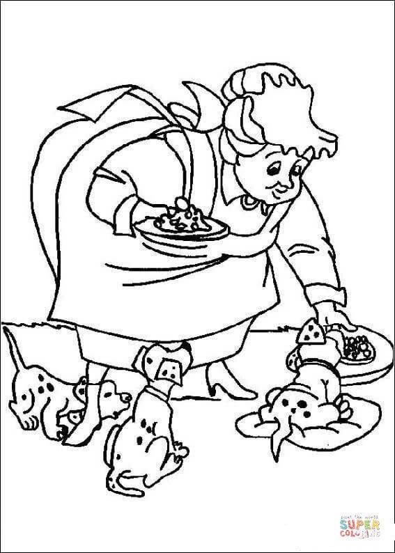 Coloriage et dessins gratuits Femme apporte le Repas des Chiens à imprimer