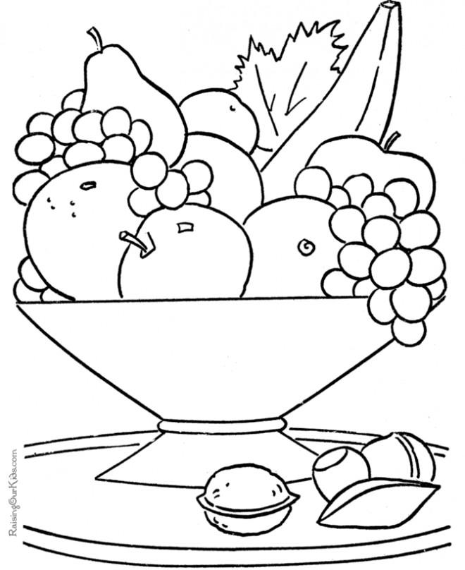 Coloriage et dessins gratuits Fruits sur la table à imprimer