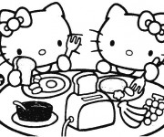 Coloriage Hello Kitty Mange