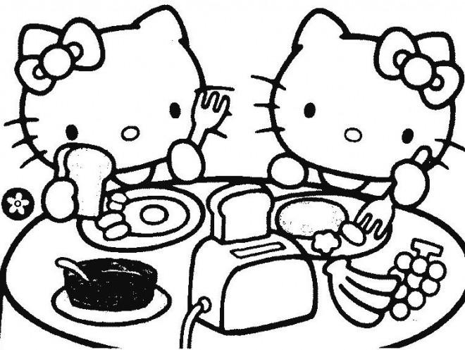Coloriage et dessins gratuits Hello Kitty Mange à imprimer