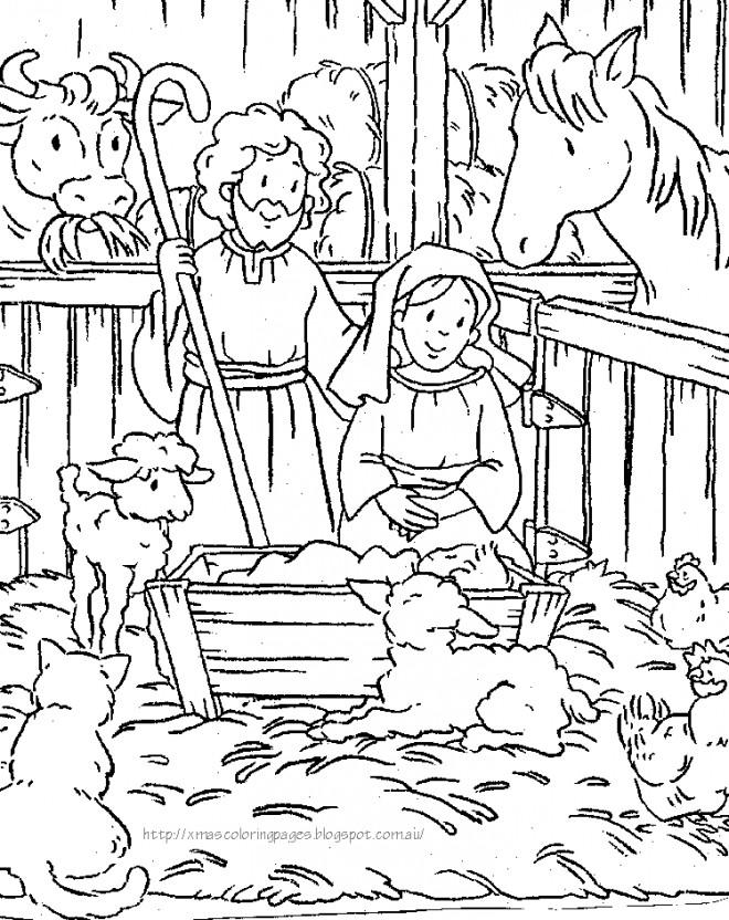 Coloriage et dessins gratuits Jésus La Ferme à imprimer