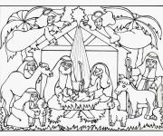Coloriage et dessins gratuit Jésus Manger maternelle à imprimer