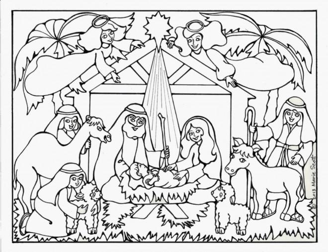 Coloriage et dessins gratuits Jésus Manger maternelle à imprimer