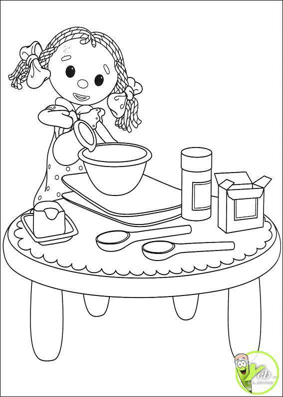 Coloriage et dessins gratuits La Fillette prépare un Gâteau délicieux à imprimer