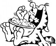 Coloriage et dessins gratuit Le Chat Mange Popcorn à imprimer