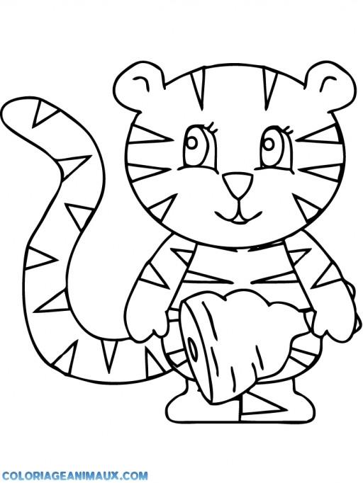 Coloriage et dessins gratuits Le Chat mignon Mange de La Viande à imprimer