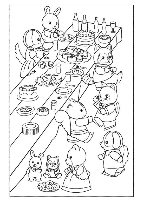 Coloriage et dessins gratuits Les Animaux Mangent Le Gâteau à imprimer