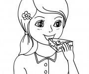 Coloriage et dessins gratuit Manger Gâteau à imprimer