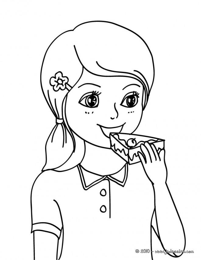 Coloriage et dessins gratuits Manger Gâteau à imprimer