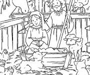Coloriage et dessins gratuit Manger  Jésus à imprimer