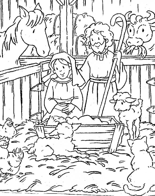 Coloriage et dessins gratuits Manger  Jésus à imprimer