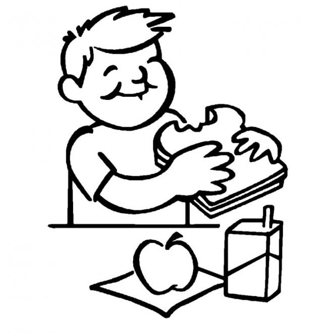 Coloriage manger le petit d jeuner dessin gratuit imprimer - Dessin gouter ...