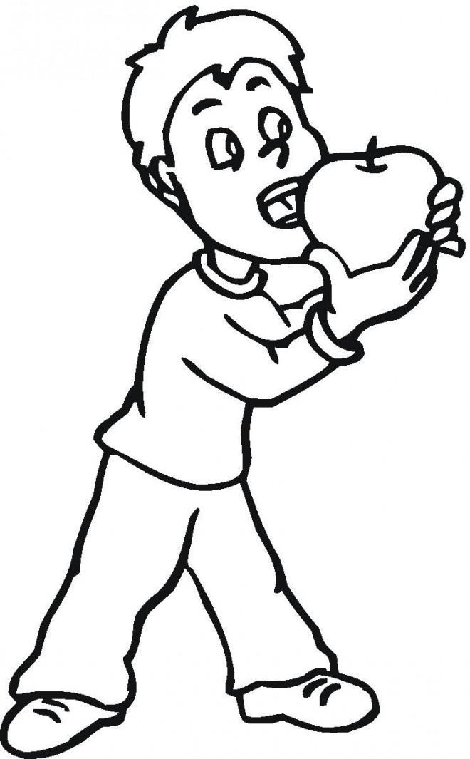Coloriage et dessins gratuits Manger une Pomme à imprimer