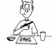 Coloriage et dessins gratuit Nourriture repas avec baguettes chinoises à imprimer