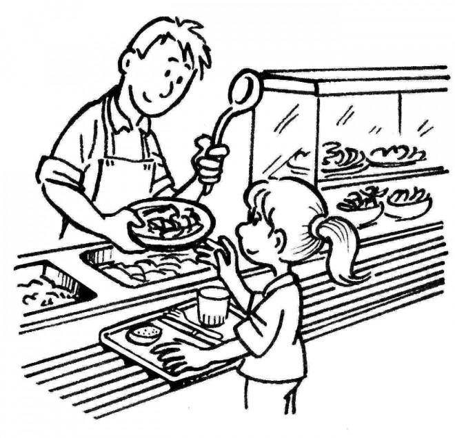 Coloriage et dessins gratuits Repas Cantine à imprimer