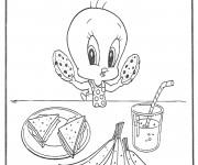 Coloriage et dessins gratuit Twitty Mange Disney à imprimer