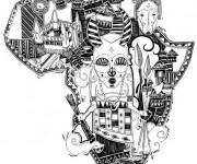 Coloriage Carte  d'Afrique Art Visuel