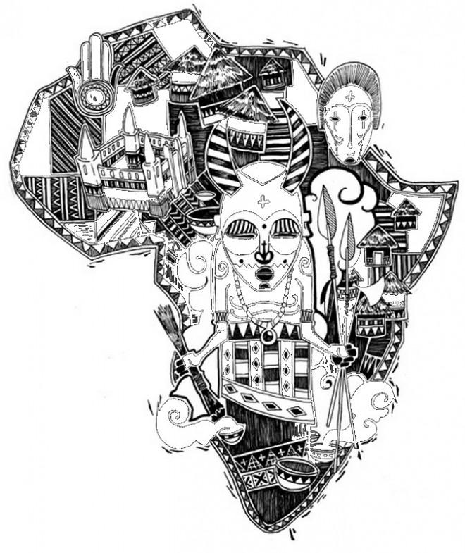 Coloriage et dessins gratuits Carte  d'Afrique Art Visuel à imprimer