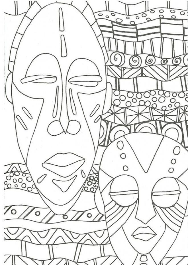 Coloriage et dessins gratuits Des Masques Africains Art Visuel à imprimer