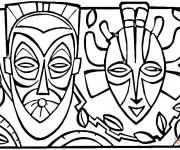 Coloriage Deux Masques Africains en couleur