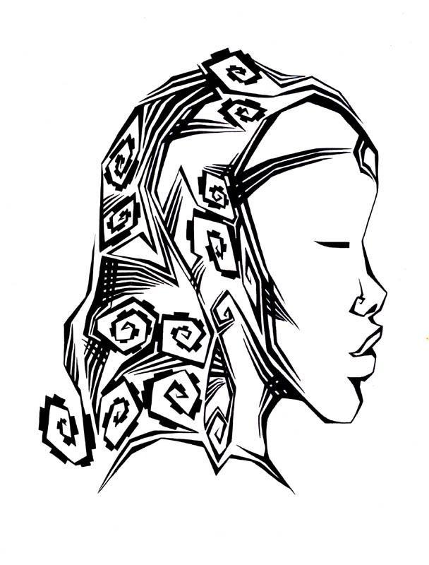 Coloriage et dessins gratuits Femme Africaine artistique à imprimer