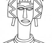 Coloriage et dessins gratuit Femme africaine avec un long cou à imprimer
