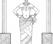 Coloriage et dessins gratuit Femme Afrique noir et blanc à imprimer