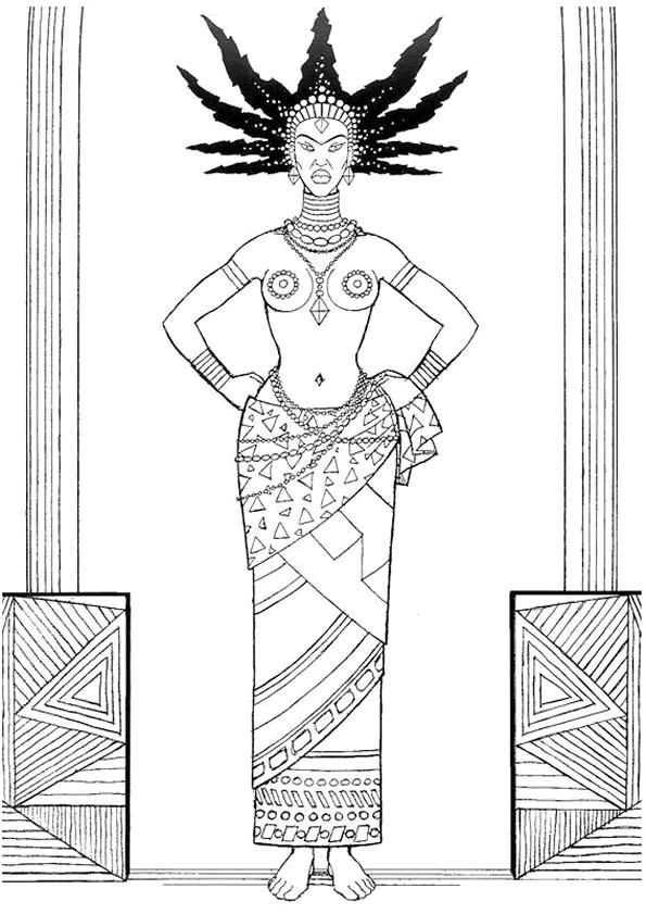 Coloriage et dessins gratuits Femme Afrique noir et blanc à imprimer