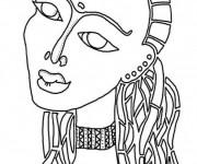 Coloriage et dessins gratuit Femme en Afrique stylisé à imprimer